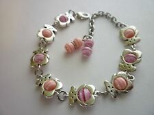 Silver Tone Charm Bracelet Teddy Bears with Pink Lobster Clasp