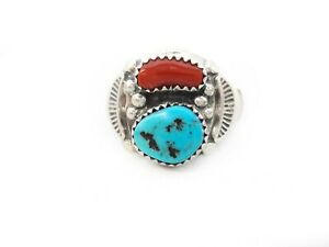 Men\u2019s native American eagle head sterling silver chip inlay turquoise and coral ring size 11 12.