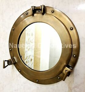 "vintage style 15"" porthole round coastal wall mirror shabby vintage home chic"