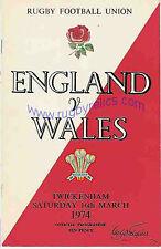 Programa Rugby Inglaterra Gales V 1974 16 de marzo-Twickenham