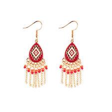 Vintage Bohemian Water Drop Retro Boho Red Bead Women Ethnic Dangle Earrings