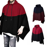 Men Hooded Hoodie Cape Cloak Poncho Drawstring Pullover Coat Sweater Tops Gift