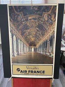 "VINTAGE RARE ORIGINAL AIR FRANCE VERSAILLES Travel Poster 24""x39"" BEAUTIFUL LOOK"