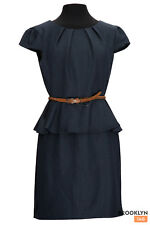 Denim Blue Dress Connected Apparel Womens Size 8P Sheath NEW $79 Office Belted