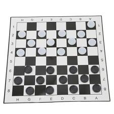 Portable Draughts Checkers Set with Folding Plastic Board Travel Game Set D