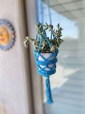 Plant Pot Hanger Handmade Crochet Boho Chic Beach Teal Blue Knit Simple Modern