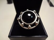 #368-LARGE VINTAGE STERLING SILVER BLACK ONYX RING-SIZE-9--925--VERY DIFFERENT N