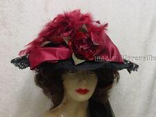 Victorian Style Black & Burgundy wine Elsie Massey hat 16091