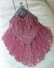 Antique Silver Filigree Floral Frame Crochet Pink Ice Bead Long Fringe Purse