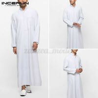 Retro Mens Muslim Saudi Arab Long Sleeve Thobe Islamic Jubba Thobe Kaftan Shirts