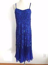 Oleg Cassini Sleeveless Silk Cocktail Dress Cobalt Blue Beaded & Sequined Size M