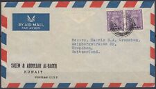 1953 cover bpaea muscat oman Stamps used en kuwait to Switzerland [bl0178]