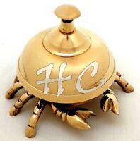 Vintage Antique Brass Crab Bell Hotel Counter Reception Bell Teacher Desk Bell