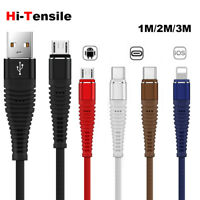 1~3M Micro USB Type C Lightning High Tensile Fast Charge Android Cable Cord Lot