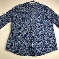 St. John's Bay Women's ¾ Sleeve Button Up Shirt Top Large L Multicolor Floral