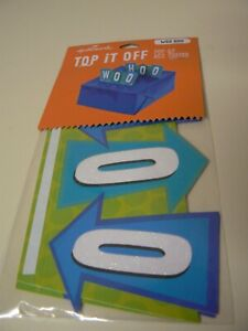 Hallmark Woohoo Top It Off Pop Up Box Topper Wrapping Blue Green White Arrows