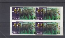 a122 - ZAIRE - SG954 MNH 1979 ELEPHANT - BLOCK OF 4 IMPERF & DOUBLE PRINTING