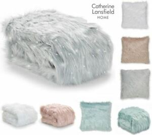 Catherine Lansfield Faux Fur Throw Or Cushion Covers Metallic Glitter Sparkle
