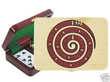Continuous Cribbage Board Spiral Shape 2 Tracks Maple / Bloodwood
