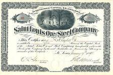 MISSOURI 1890, Saint Louis Ore & Steel Co Stock Certificate Signed EA Hitchcock