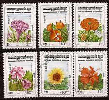 139 KAMPUCHEA ex CAMBODGE  6 fleurs printanieres, timbres obliteres