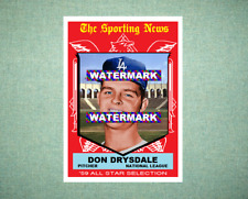 Don Drysdale All Star Los Angeles Dodgers 1959 Style Custom Art Card