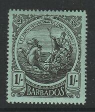 Barbados 1916-19 George V 1/- Black/ green SG 189 Mint.