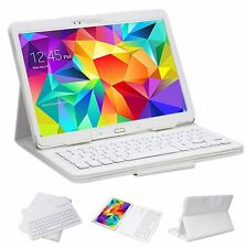 Detachable Bluetooth Keyboard Lichee PU Leather Stand Tablet Case For PC Samsung