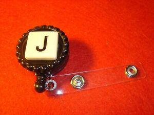 """ J "" MONOGRAM Initial Black & Tan Retractable Reel ID Badge Holder w/Clip"