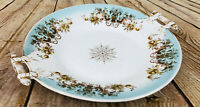 Vtg China Serving Plate /w Handles Floral blue gold dinnerware beautiful 10.5""