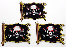 """Pirate Flag Jolly Roger 2"""" Mini-Patches - Set of 3 - Mailed from Usa (Pipa-Mp01)"""
