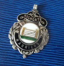 Silver Enamel Walking Fob Medal h/m 1935 London to Brighton - Highgate Harriers