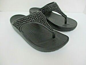 Crocs Montetey Diamante wedge thong flip flop sandals black size 5