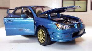 1:24 Scale Blue Motormax Subaru Impreza WRX STi Hawkeye Model Car 2005 73330