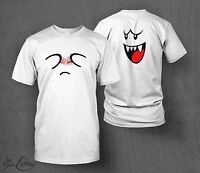 Super Mario T-Shirt Boo Ghost T-shirt MEN'S Double Sided Nintendo Switch Luigi