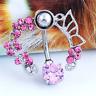 Women Pink Crystal Flower Belly Ring Navel Studs Glitter Body Piercing Jewelry