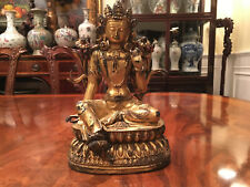 A Chinese Qing Dynasty Gilt Bronze Guanyin Statue, Marked.