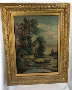 Antique Hand Lithograph Original Or Print??? UnknoWn Framed French European