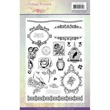 VINTAGE FLOWERS Clear Unmounted Rubber Stamp Set Jeanine's Art JACS10013 New