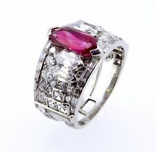Important 1925 Art Deco CARTIER Burma Ruby and Diamond Fancy Shape Platinum Ring