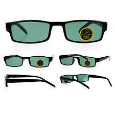 Mens Glass Lens Black Classic Narrow Rectangular Plastic Spring Hinge Sunglasses