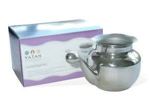Neti Pot (Stainless Steel, 400ml): for nasal irrigation, sinus congestion relief