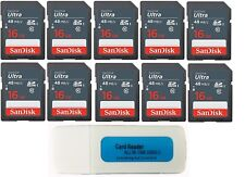SanDisk Ultra 16GB Class 10 SD card for Spartan Camera - 10 Pack with reader