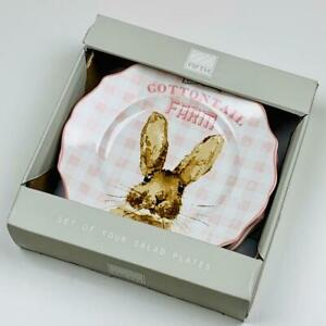 Easter Bunny Clover's Cottontail Farm Porcelain Salad Plates Set of 4 222 Fifth