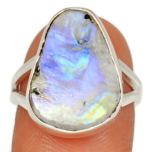 Natural Rainbow Moonstone And Quartz Rough 925 Silver Ring s.7 BR10002