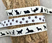 Silhouette Ribbon - Paw Print Ribbon - Cat Dog Trim - Pet Crafts - Animal Ribbon