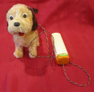 Vintage 60's Battery Operated Dog w/Remote Animated Barks Walks Toy Orange Brown