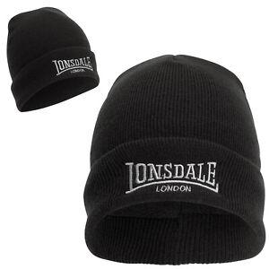 Lonsdale Black Pull Down Beanie Hat Cap Extra Warm Fleece Lining Winter Mütze