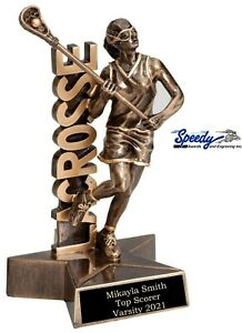 """LACROSSE FEMALE SUPERSTAR RESIN TROPHY 6.5"""" FREE ENGRAVING  FAST SHIPPING"""