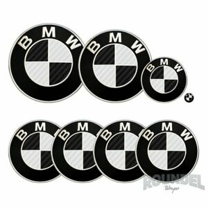 For BMW Badge Gloss Carbon Fibre Black & White All Models Decals Stickers Fiber